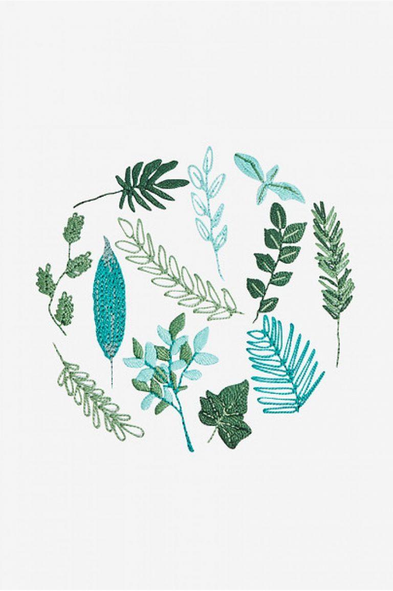 Broderie motif feuilles persistantes - DMC