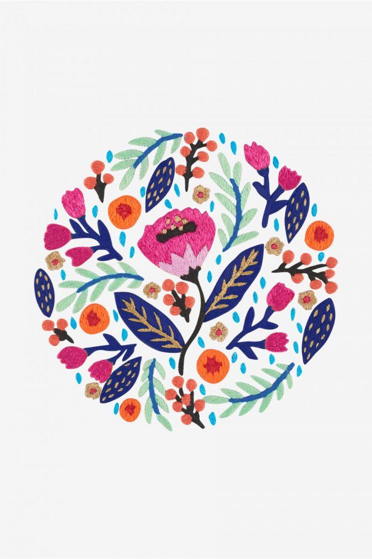 Broderie motif jardin de printemps - DMC