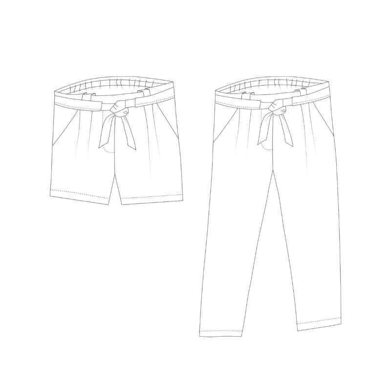 Dessin technique du pantalon Aura - patron Rose des Vents