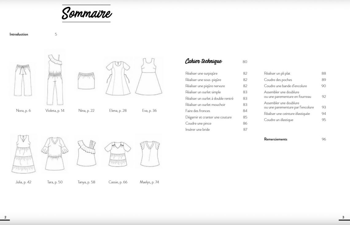 Sommaire livre couture grandes tailles - Mango Editions