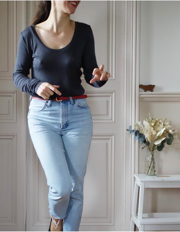 Top Ludmilla en jersey gris - Maison Fauve