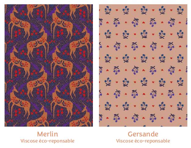 Tissus Merlin et Gersande - collection mille fleurs - Madame Iris