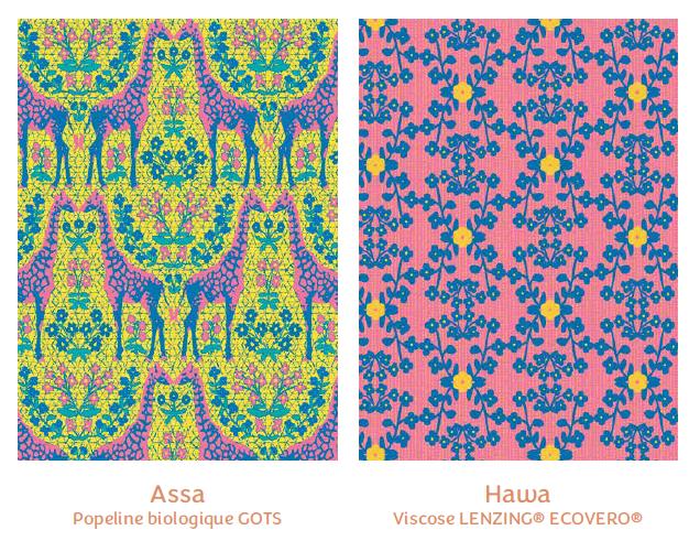 Tissus Assa et Hawa - collection royaume des fleurs - Madame Iris