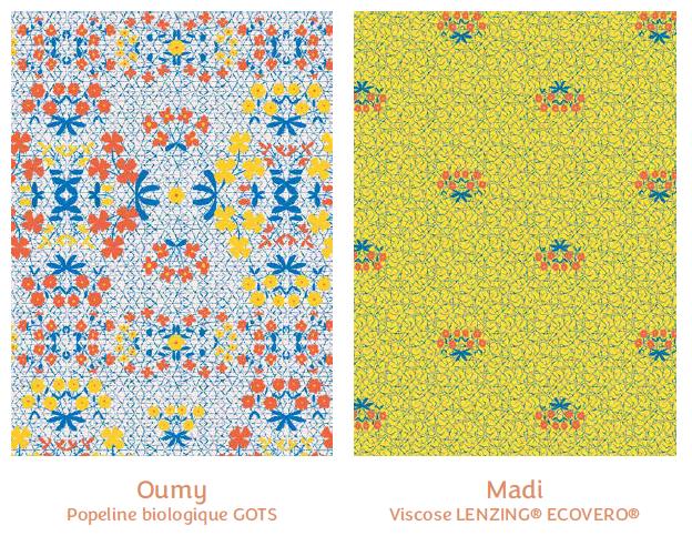 Tissus Oumy et Madi - collection royaume des fleurs - Madame Iris