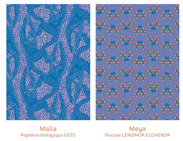 Tissus Malia et Meya - collection royaume des fleurs - Madame Iris
