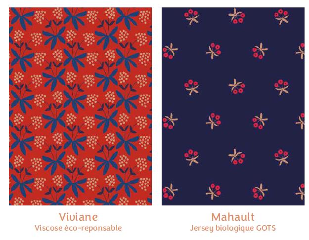 Tissus Viviane et Mahault- collection mille fleurs - Madame Iris
