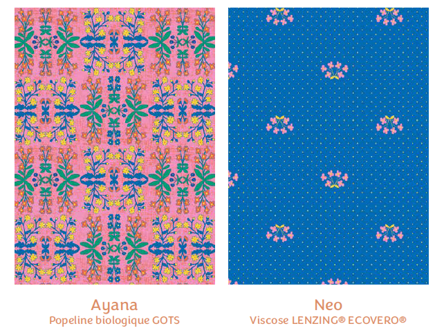 Tissus Ayana et Neo - collection royaume des fleurs - Madame Iris