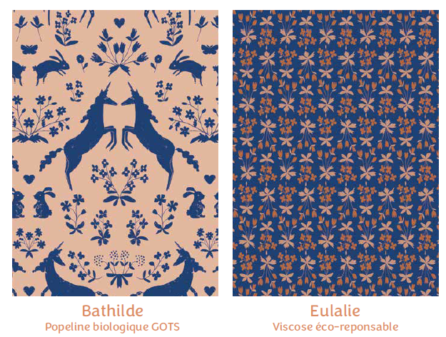 Tissus Bathilde et Eulalie- collection mille fleurs - Madame Iris