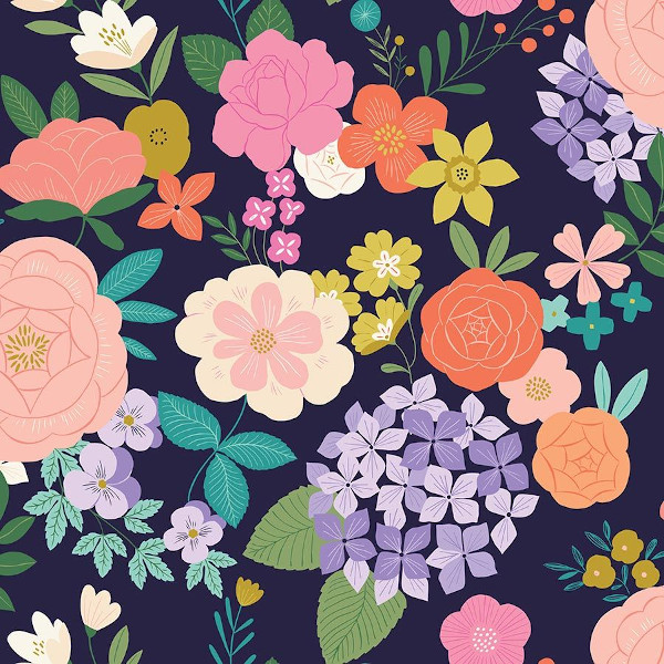 "Popeline coton bio ""Felicity"" fleurs"