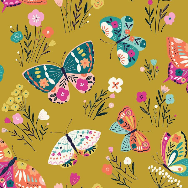 "Popeline coton bio ""Joy"" papillons"