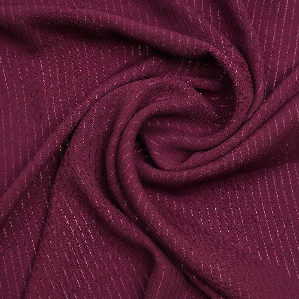 Tissu crêpe bordeaux à rayures lurex