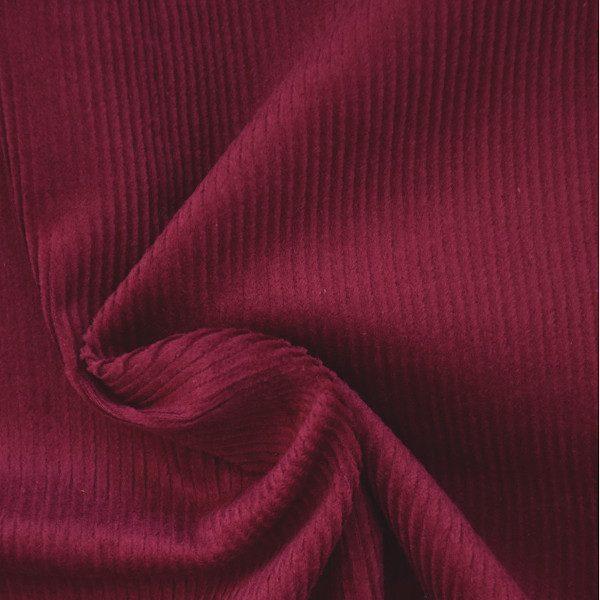 tissu velours milleraies rouge bordeaux